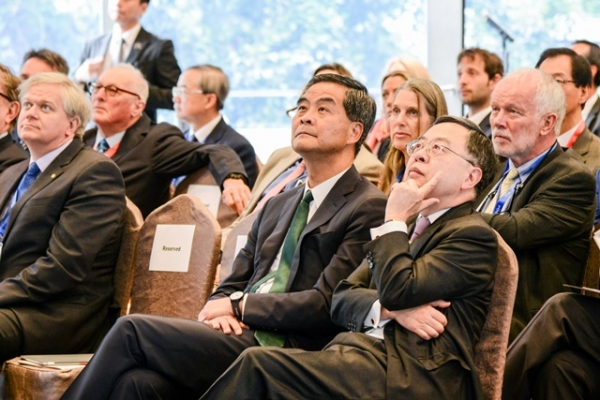 Leung Chun-ying, Chief Executive, The Government of Hong Kong SAR and Ronnie. C. Chan, Co-Chair, Asia Society listened intently during the symposium.
