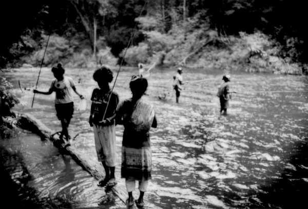 Batek Negrito women fish for dinner in Sungai Pertang, which runs out from the rainforest of Taman Negara National Park.  (James Whitlow Delano)