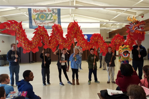 2016 Dragon Dance at Gideon Welles School. (Glastonbury/GEHM Foreign Language Department)
