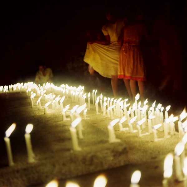 Candles mark a mass grave for students and faculty killed on the night of March 25, 1971 at Dhaka University.  (Elizabeth Herman)