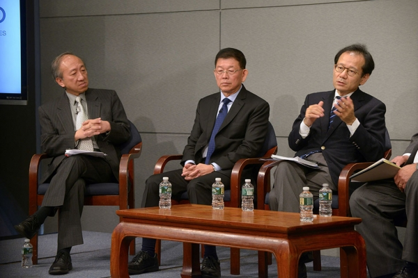 Members of the panel discussion. From left: Hau Kit-Tai, Lee Sing Kong, Suzuki Kan. (Elsa Ruiz/Asia Society)