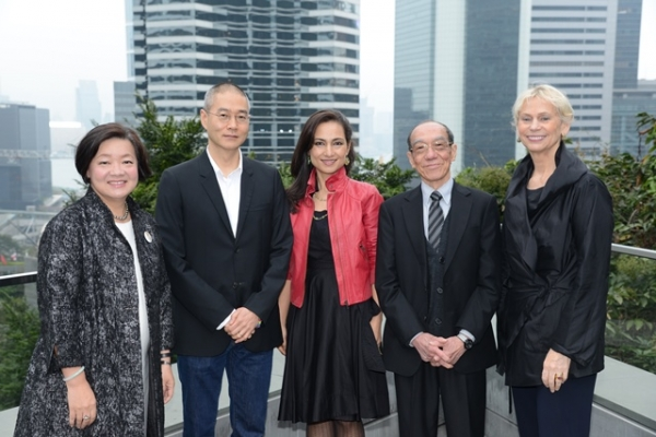 (From left to right) S. Alice Mong, Do Ho Suh, Shahzia Sikander, Wucius Wong, and Peggy Loar on Asia Society Hong Kong's roof garden.