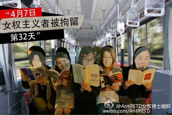 Masked activists pose on a bus.