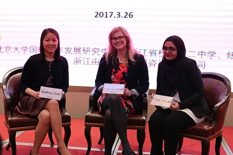 New York Academy of Sciences (NYAS) Director Stephanie Wortel-London with NYAS 1000 Girls, 1000 Futures mentees Audrey Lee (left) and Urooj Ansari (right). (Hangzhou/Wang Peiyu)