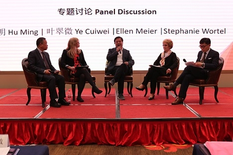 The group of panelists discussed what can be done to insure more young women enter STEM-related professions and thrive in them. (Hangzhou/Wang Peiyu)