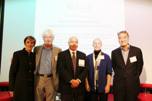 From left to right: Jane Barratt, Regis Kelly, Jorge Puente, Karen Eggleston, Wei Siang Yu