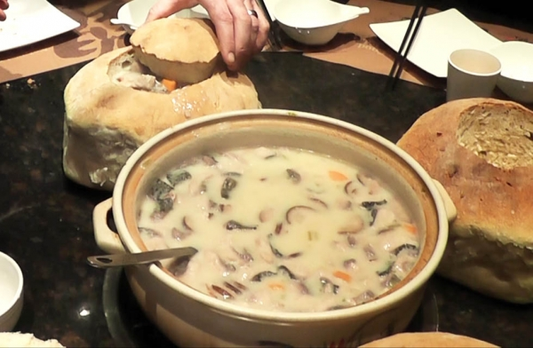 "Chowder in a bread bowl from ""Sauced in Translation"" episode 2 in Harbin, Heilongjiang, China. (Howie Southworth)"