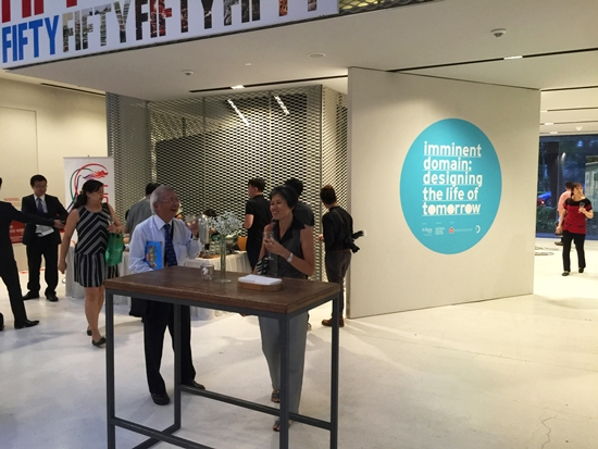 "Opening reception of ""Imminent Domain: Designing the Life of Tomorrow"" exhibition at National Design Centre, Singapore."