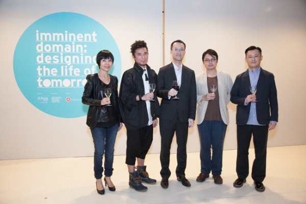 "L to R: Ms. Agnes Chua (Director, Corporate Management, DesignSingapore Council), Mr. Yeung Chin (Designer), Mr. Bruno Luk (Director, Hong Kong Economic and Trade Office in Singapore), Mr. Dylan Kwok (Designer) and Mr. Dominique Chan (Head of Gallery and Exhibition, Asia Society Hong Kong Center) toasting at the opening reception of ""Imminent Domain: Designing the Life of Tomorrow"" exhibition at National Design Centre, Singapore."