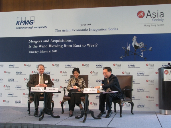 Douglas Brooks, Mary Ma and Ronnie Chan in Hong Kong on March 6, 2012. (Asia Society Hong Kong Centre)