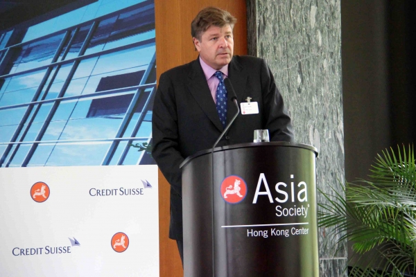 Neil Harvey, CEO, Credit Suisse (HK) made opening remarks at the last Credit Suisse-Asia Society Sustainability Series event on June 12, 2013. (Stephen Tong/Asia Society Hong Kong Center)