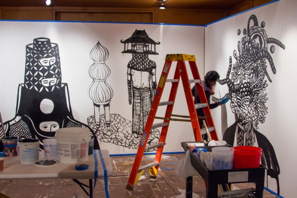 "The contemporary Indonesian artist Eko Nugroho creates a site-specific mural in the Visitor Center at Asia Society, January 7–16, 2017, for ""On Site: Eko Nugroho."" Commissioned by Asia Society Museum. Photo: Salvador Pantoja"