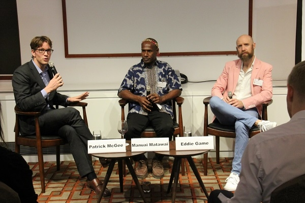 L to R: Patrick McGee, Manuai Matawai and Dr. Eddie Game discuss the the most pressing climate change challenges faced by Papua New Guinea and other Pacific islands.