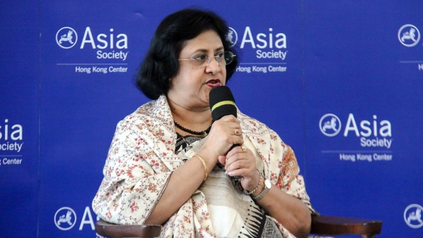 Arundhati Bhattacharya speaks at Asia Society in Hong Kong. (Asia Society)