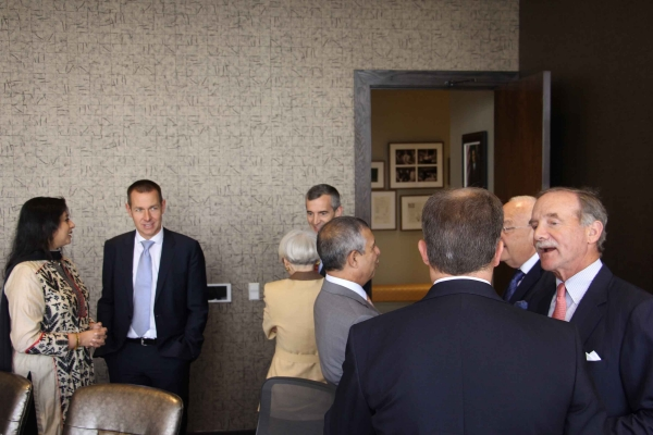 Corporate sponsors and donors meet Ambassador Mirpuri before the program. (Asia Society Texas Center - Paul Pass)