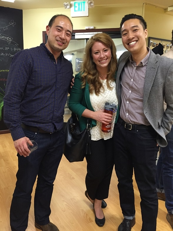 Asahi Choi, ASYPG Treasurer; Makenna Martinez, ASNC Corporate Development Officer; and John Nguyen, ASYPG Networking and Outreach Chair, pose for a photo