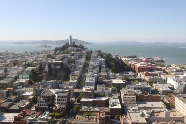The view from the top of San Francisco's TransAmerica Building. A private reception and a tour of the iconic building was held before the launch event at the offices of Heller Manus Architects. (Asia Society)