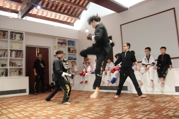 Young Kung Fu masters gives an impressive demonstration of their talents.