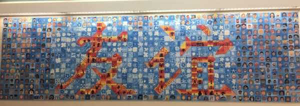 Front hallway mural made of over 500 wood blocks, done with artist-in-residence Jennifer Joliff. (Jennifer Schmitz)