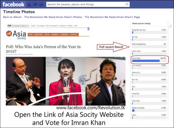 This image uploaded to an Imran Khan Facebook page helped the Pakistani politician run away with Asia Society's 'Asia's Person of the Year' reader poll.