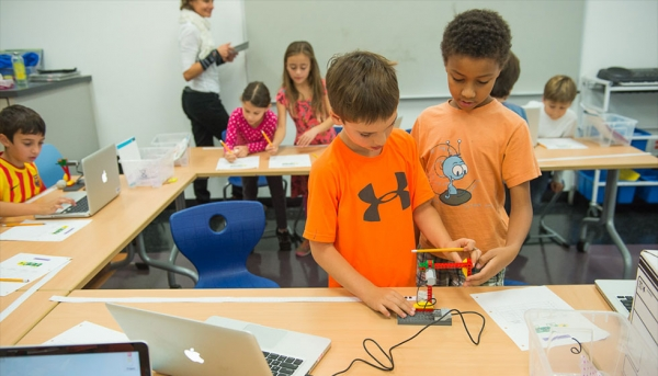 ISTP's Maker Space - a center for creativity, design, and innovation and the hub for the school's Computer Coding program (International School of the Peninsula)