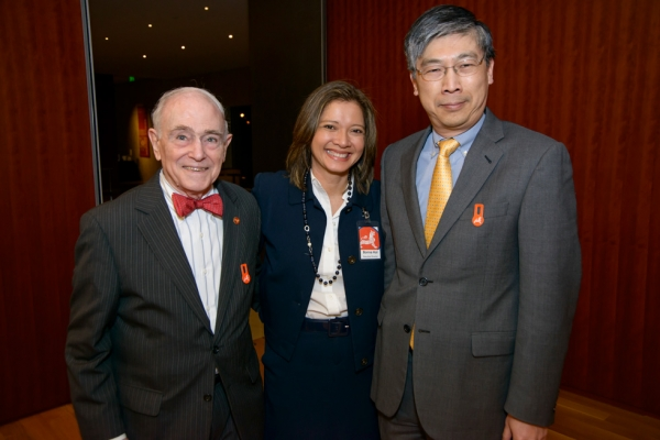 Bonna Kol with Asia Society Texas Center Board members Milton D. Rosenau, Jr. (left) and Theodore Y. Louie (right). (Jeff Fantich)