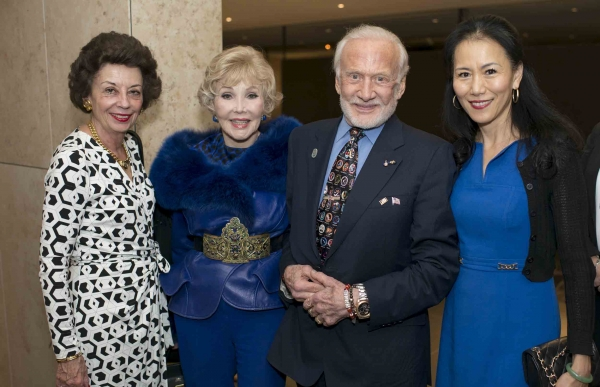 Left to Right: Kathy Goossen, Joanne Herring, Buzz Aldrin, and Y. Ping Sun (Jeff Fantich)