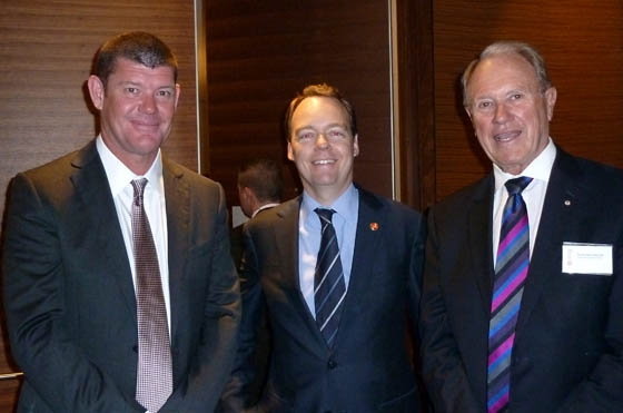 L to R: James Packer, Crown Ltd, Andrew Low Deputy Chairman, Asia Society Australia and The Hon Bruce Baird, Transport and Tourism Forum, in Sydney on March 14, 2013. (Asia Society Australia)