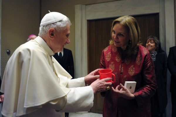 Pope Benedict XVI speaks with Josette Sheeran during their meeting after the pontiff's Wednesday general audience in Paul VI hall at the Vatican on March 2, 2011. (Osservatore Romano/AFP/Getty Images)