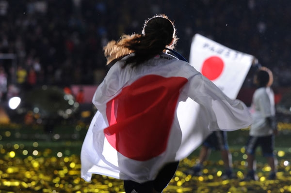 Japan's midfielder Homare Sawa celebrates after the FIFA Women's Football World Cup final match Japan vs USA on July 17, 2011 in Frankfurt am Main, western Germany. Japan won 3-1 in a penalty shoot-out after the final had finished 2-2 following extra-time. (Patrik Stollarz/AFP/Getty Images)