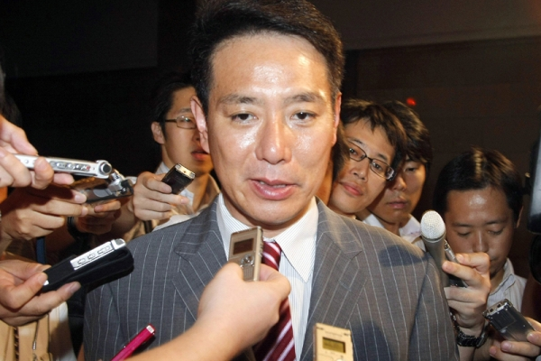 Former Japanese foreign minister Seiji Maehara declared his candidacy at the National Diet in Tokyo on Aug. 23, 2011 to replace Naoto Kan as prime minister next week. (Jiji Press/AFP/Getty Images)