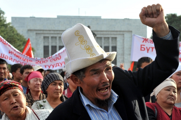 Supporters of the Kyrgyz Byutun party protest against the results of the Parliamentary elections in Bishkek on October 18, 2010. (Vyacheslav Oseledko/AFP/Getty Images)
