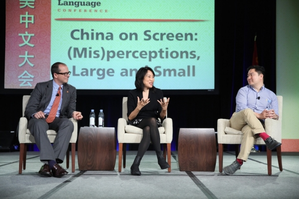 Jonathan Landreth, ChinaFile Managing Editor, Asia Society; Janet Yang, entertainment and media consultant and film producer; Kenneth Lin, screenwriter and playwright.