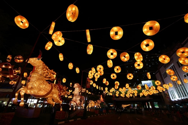 Brightly lit life-sized horse and gold coin lanterns illuminate the streets on January 11, 2014 in Chinatown, Singapore. (Suhaimi Abdullah/Getty Images)