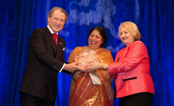 Mr. Daly and Ambassador Melanne S. Verveer, U.S. Ambassador-at-Large for Global Women's Issues, with Humanitarian Service Awardee Minister Shirin Sharmin Chaudhury, State Minister of Women's and Children's Affairs, Bangladesh. (Les Talusan/Asia Society)