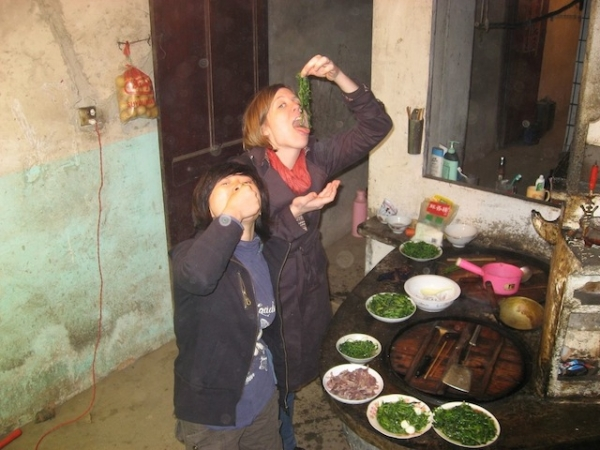 Megan Shank eating on assignment in Wuxi in 2008.