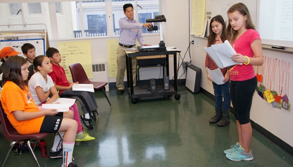 Oral presentations in Hsu Laoshi's fifth grade Chinese class. (Chinese American International School)