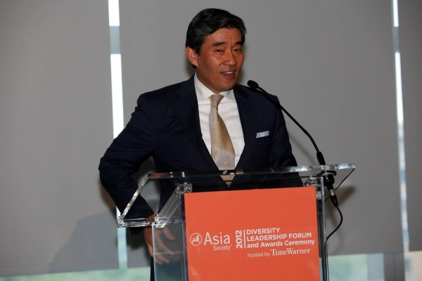 John Kim delivering New York Life Insurance Company's acceptance speech for the Best Company for Support of the Asian Pacific American Community