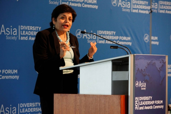 Asia Society President Vishakha Desai welcoming conference delegates