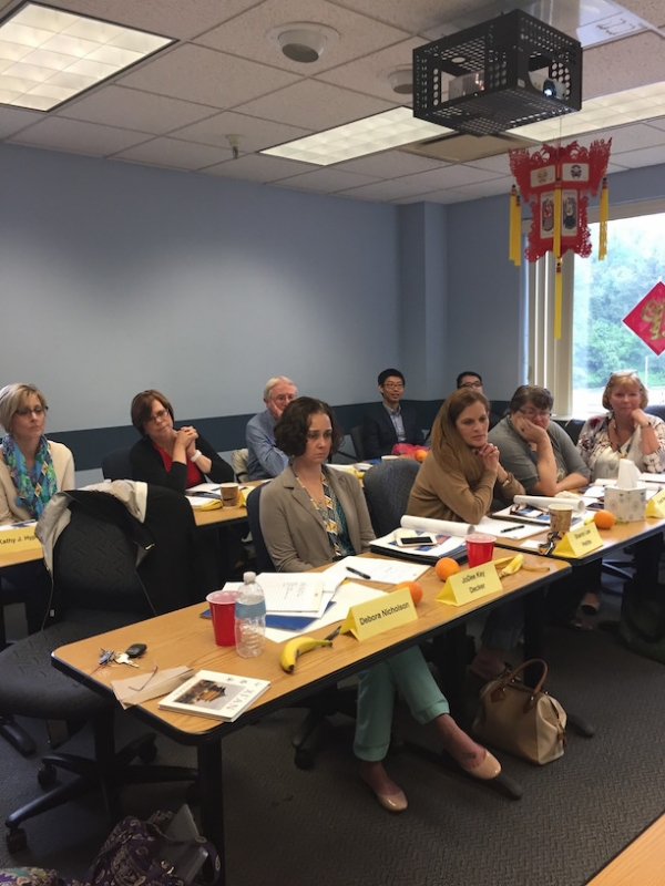 West Virginia educators who are part of the Confucius Institute for Business West Virginia's China travel delegation attend an orientation session at the College of Business and Economics at West Virginia University. (Debora L. Nicholson)