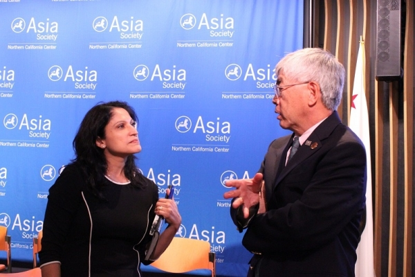 Kohli and Gee continue the discussion post-event. (Yiwen Zhang/Asia Society)