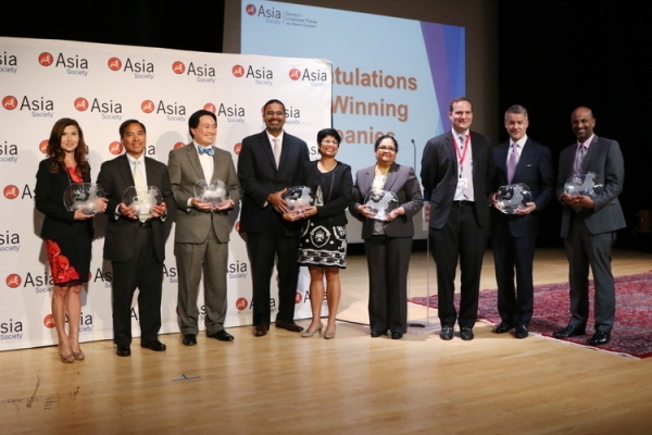 Representatives of companies receiving best employer awards at Asia Society's 7th annual Diversity Leadership Forum. (Ellen Wallop/Asia Society)