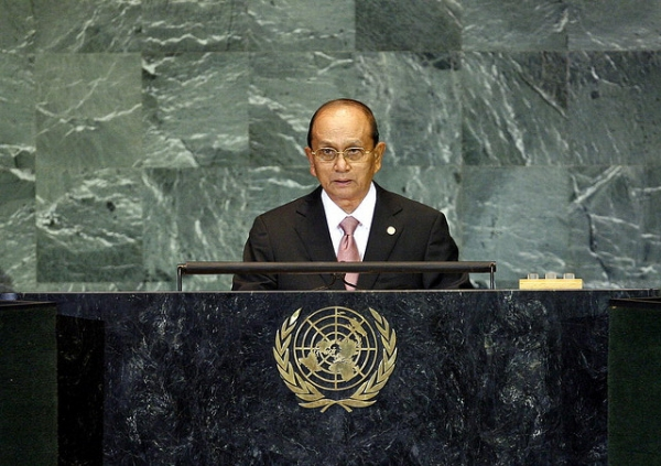 Prime Minister of Myanmar Thein Sein addresses the United Nations General Assembly in New York City on Sept. 28, 2009. (United Nations Photo/Flickr)