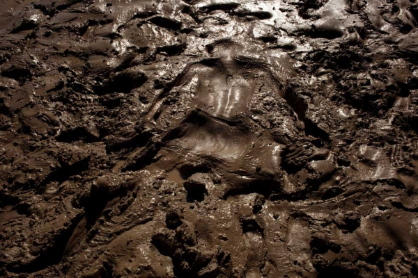 "A human imprint on the muddy banks of the Syr Darya near Kyzylorda, Kazakhstan. From ""Two Rivers."" (Carolyn Drake)"