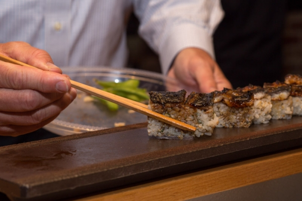 Hako-zushi BBQ eel with arima-sansho pepper (Michelle Edmunds)