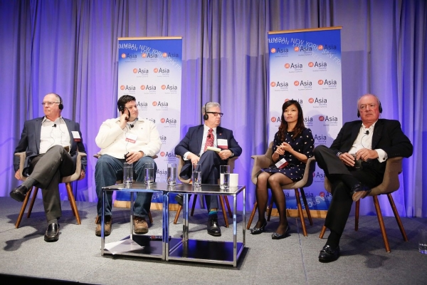 Thomas E. McLain, Chairman of Asia Society Southern California and Attorney of Hogan Lovells, Joshua Wexler, Chief Executive of Fun of iP2Entertainment, Michael Corrigan, Managing Director of CP Enterprises,  Lisa Wang, General Counsel of Huayi Brothers Media Corporation and Ray Braun, Principal of Entertainment + Culture Advisors speak during the 2016 U.S.-China Film Summit held at UCLA on November 1, 2016 in Los Angeles, California.