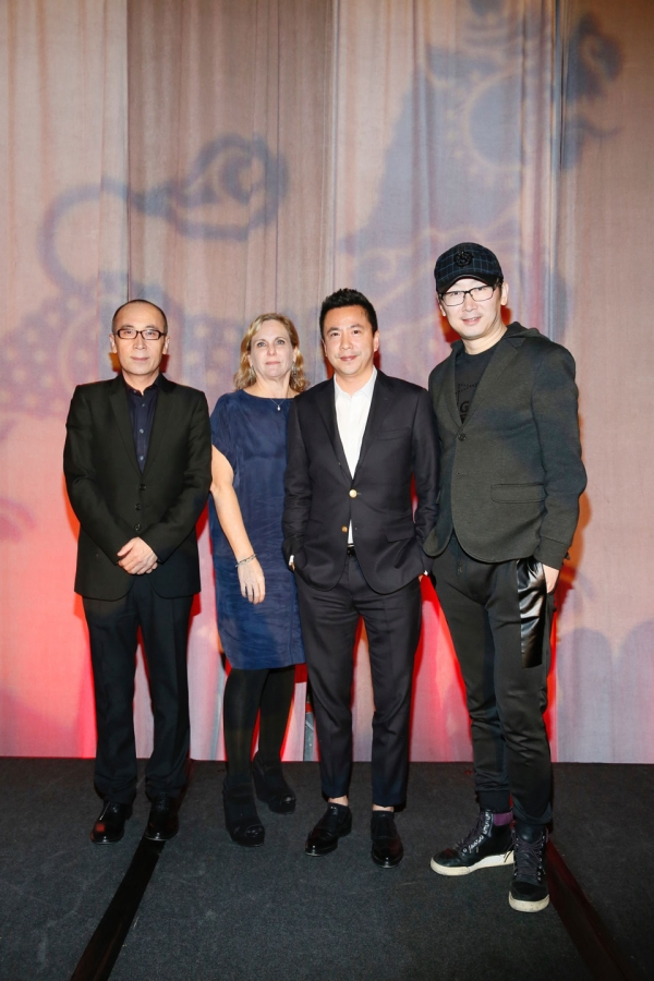 From left, honorees LU Chuan, Writer, Director and Producer, CAO Baoping, Writer, Director and Producer, Melissa Cobb, Head of Studio and Chief Creative Officer Oriental DreamWorks and James Wang, Co-Founder, Vice Chairman and CEO Huayi Brothers Media Corporation pose during the 2016 U.S.-China Film Gala Dinner held at the Millennium Biltmore Hotel on Wednesday, November 2, 2016, in Los Angeles, California.