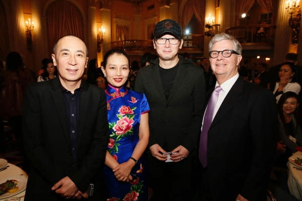 From left, CAO Baoping, Writer, Director and Producer, Wang Jin, Chinese Cultural Attache at Consulate, LU Chuan, Writer, Director and Producer and Thomas McLain, Chairman Asia Society Southern California pose during the 2016 U.S.-China Film Gala Dinner held at the Millennium Biltmore Hotel on Wednesday, November 2, 2016, in Los Angeles, California.