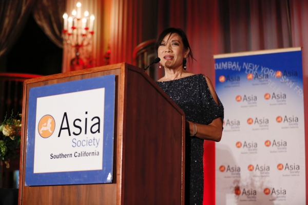 Janet Yang speaks during the 2016 U.S.-China Film Gala Dinner held at the Millennium Biltmore Hotel on Wednesday, November 2, 2016, in Los Angeles, California.