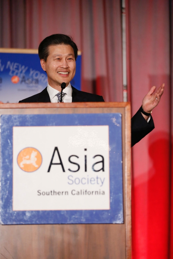 Dominic Ng, East West Bank speaks during the 2016 U.S.-China Film Gala Dinner held at the Millennium Biltmore Hotel on Wednesday, November 2, 2016, in Los Angeles, California.